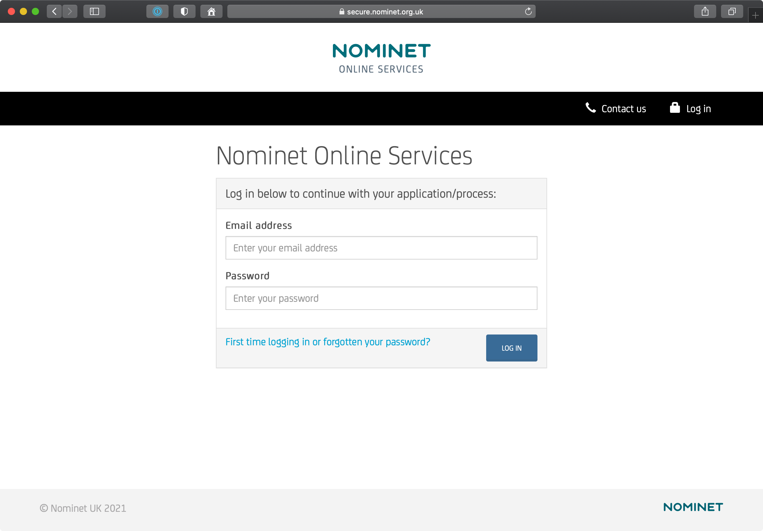 Nominet Online Services Login