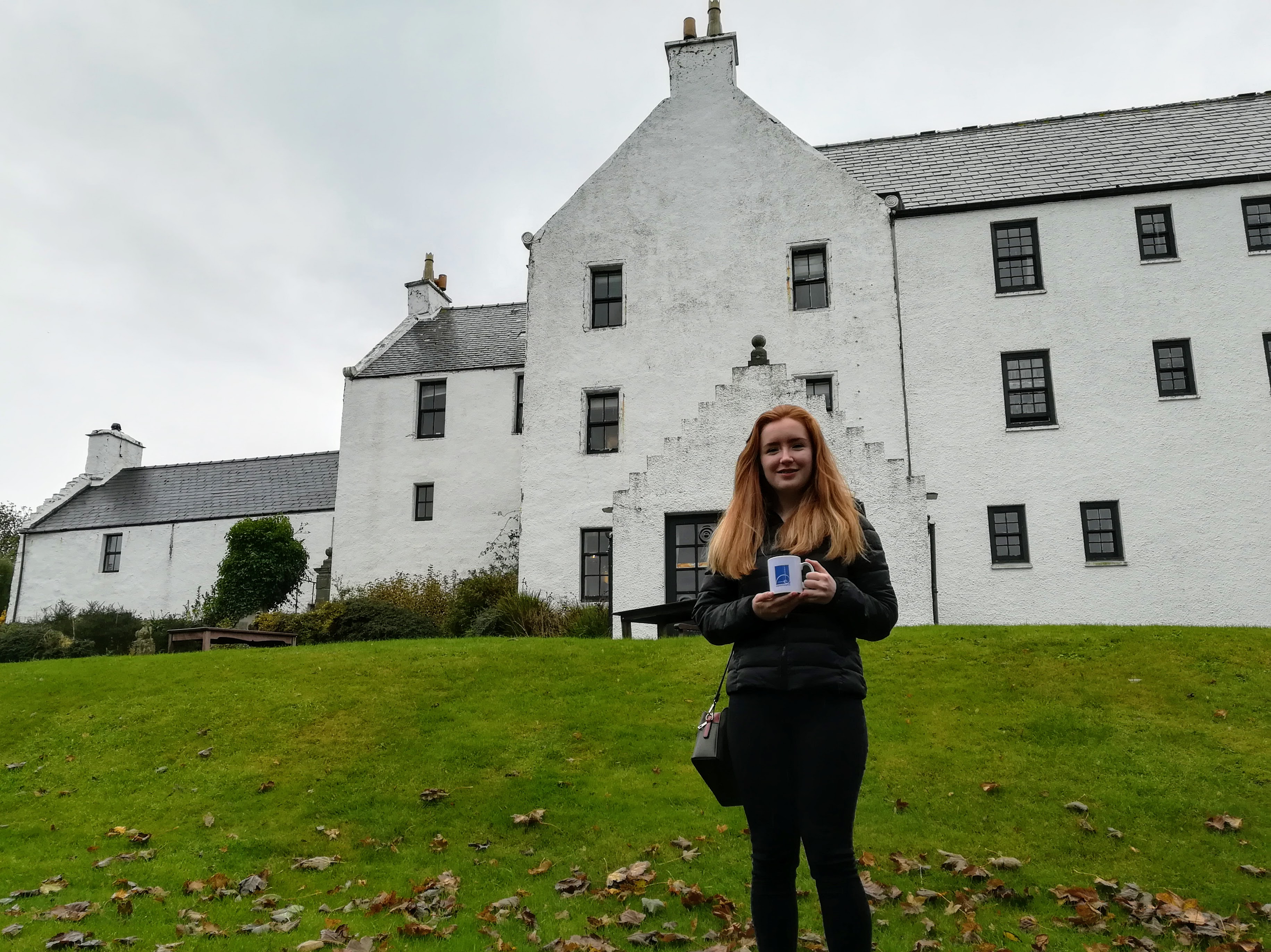 Rhona outside Busta House, Brae
