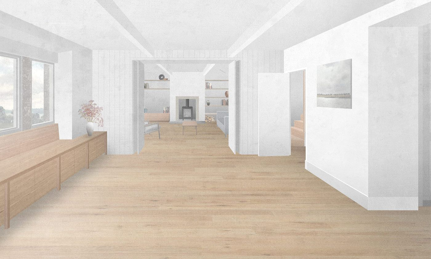 Internal view of proposed living room and snug within From Works refurbishment of a rural north Yorkshire terraced cottage.
