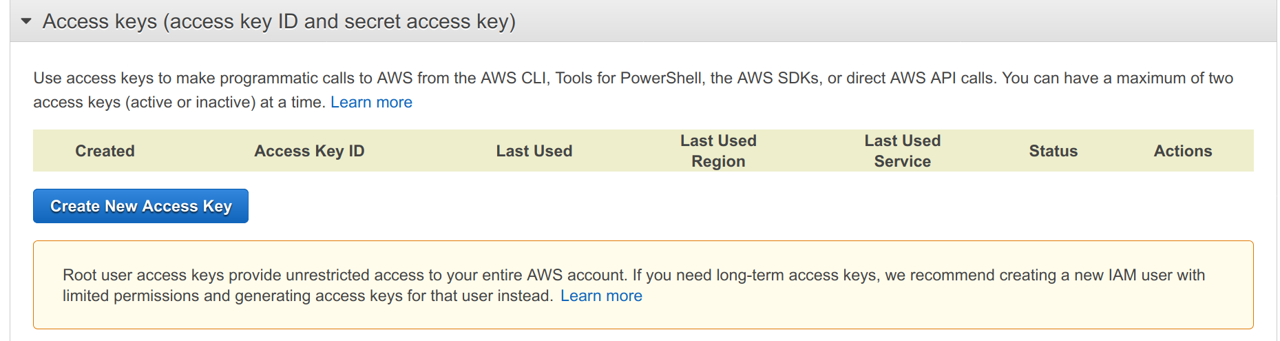 Screenshot of AWS management console Access Keys page