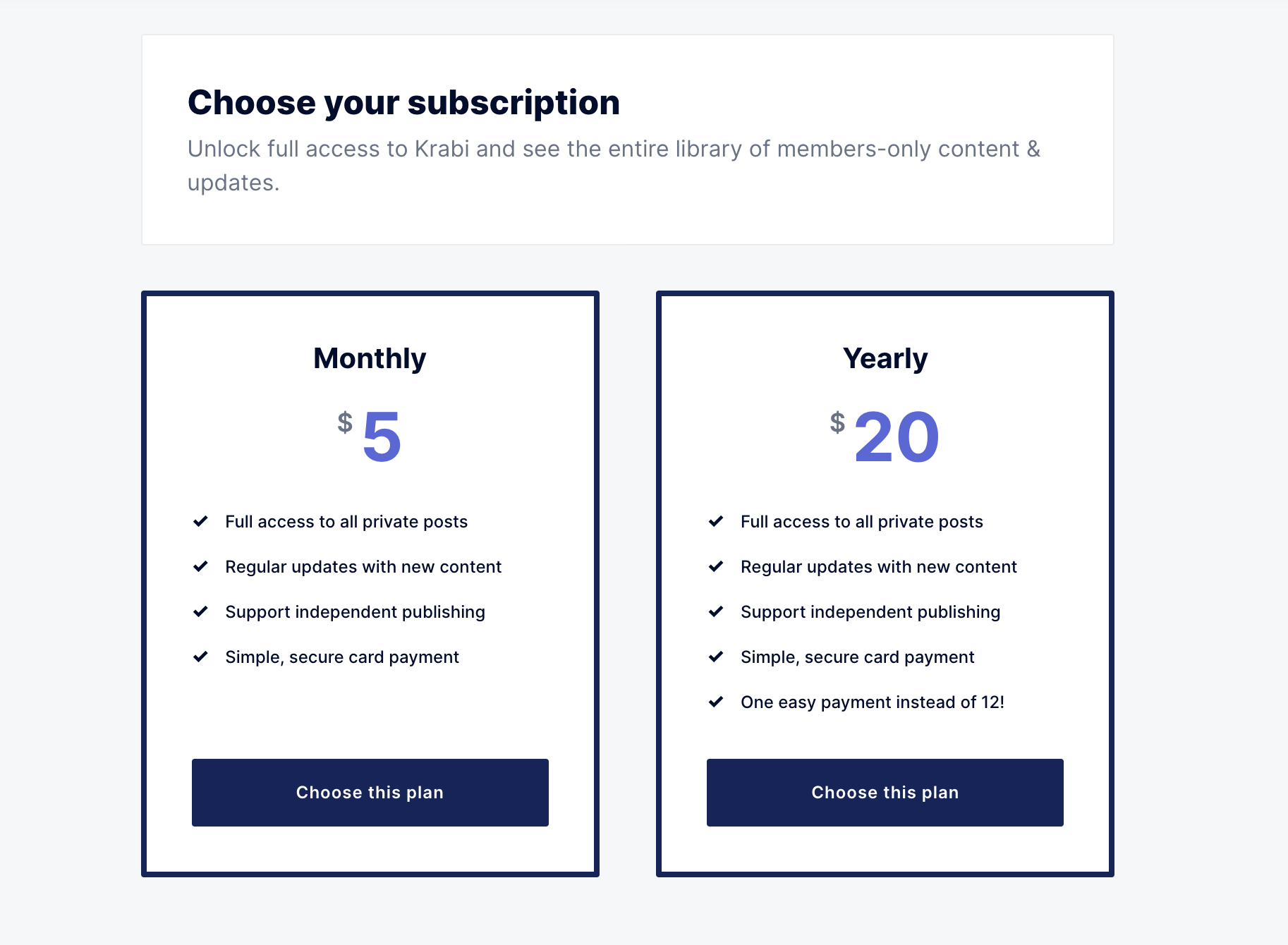 Subscription plans in Krabi