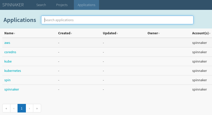 The Spinnaker Applications view