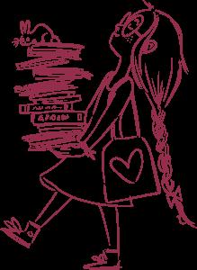 Σχέδιο ενός κοριτσιού που μεταφέρει βιβλία
