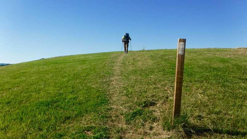 Crossing an open hill