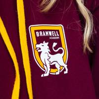 A hoodie with a school logo printed on the front left chest area.
