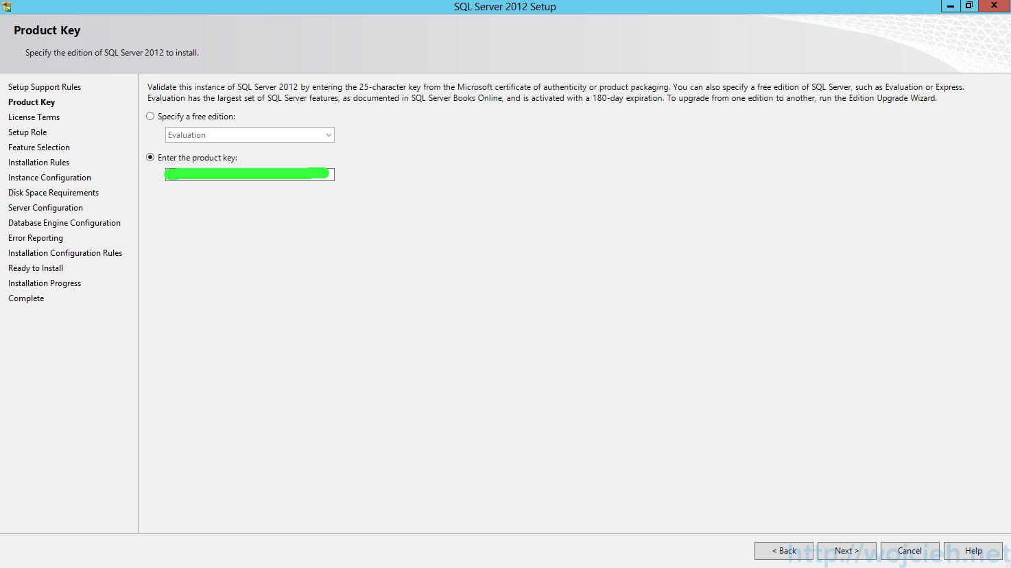 SQL Server 2012 SP1 - Product Key