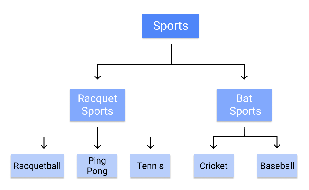 A decision tree classifying sports into 'racquet sports' and 'bat sports.'