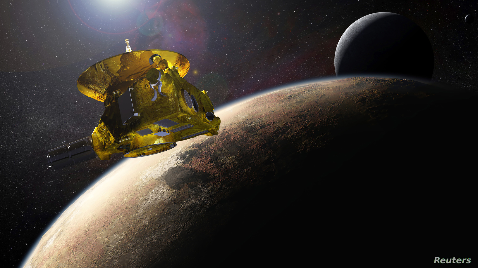 Космический аппарат «Новые горизонты», Плутон и его спутник Харон в 2015 году. Фото: NASA / Reuters