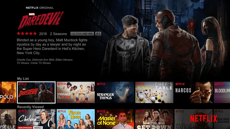 Netflix home page user interface