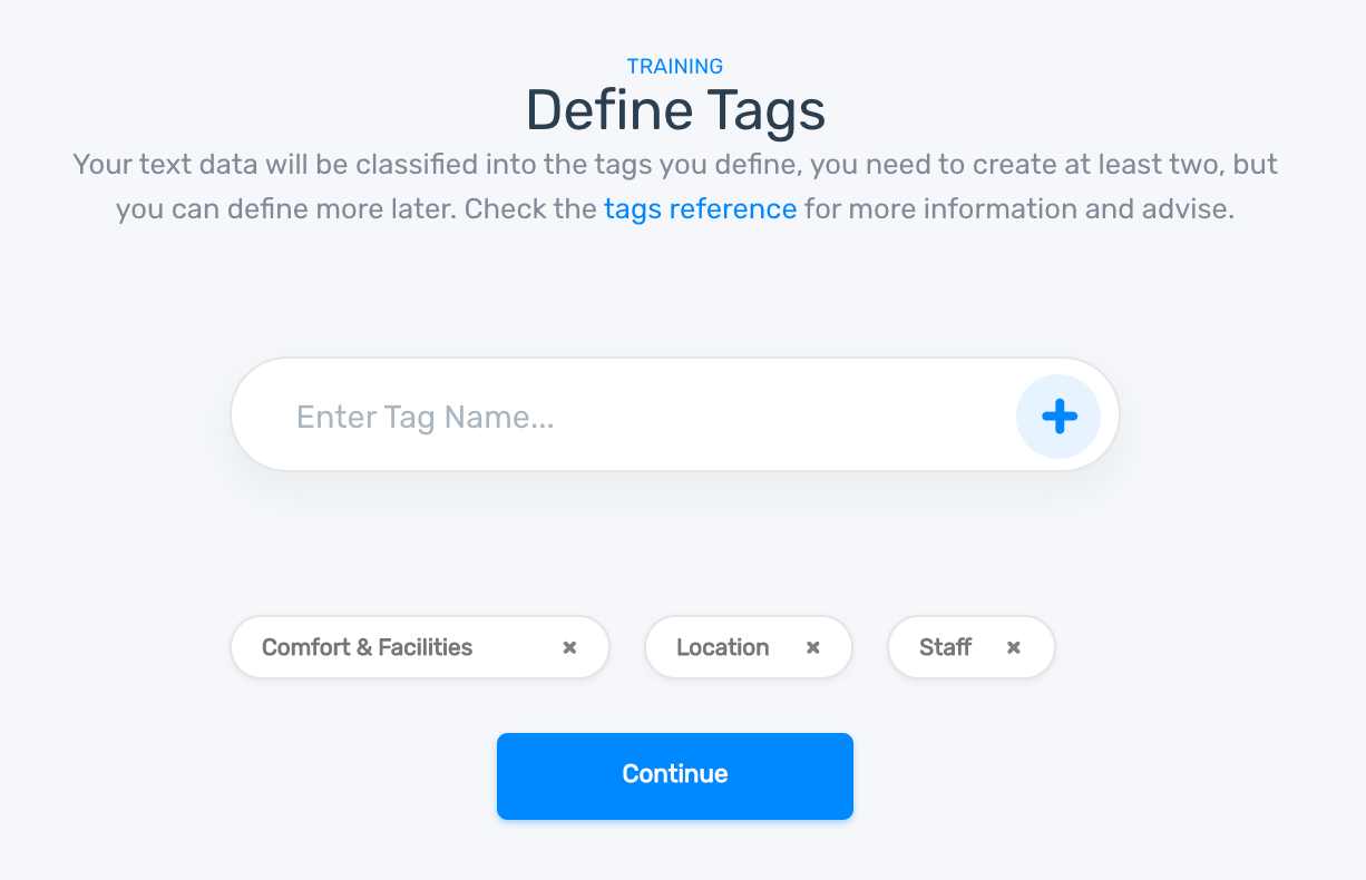 Define the tags for your classifier