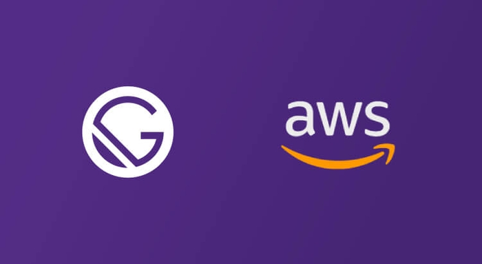 Gatsby JS and AWS icon on purple background