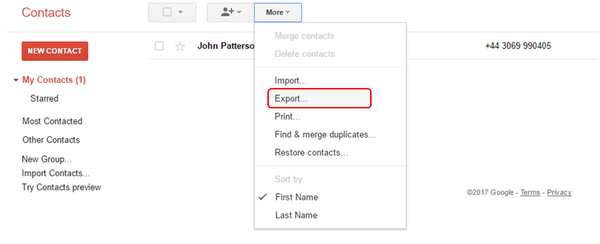 How to export Google contacts to a  csv file - Covve