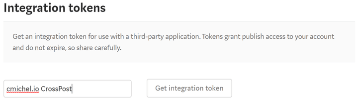 Medium Integration Token