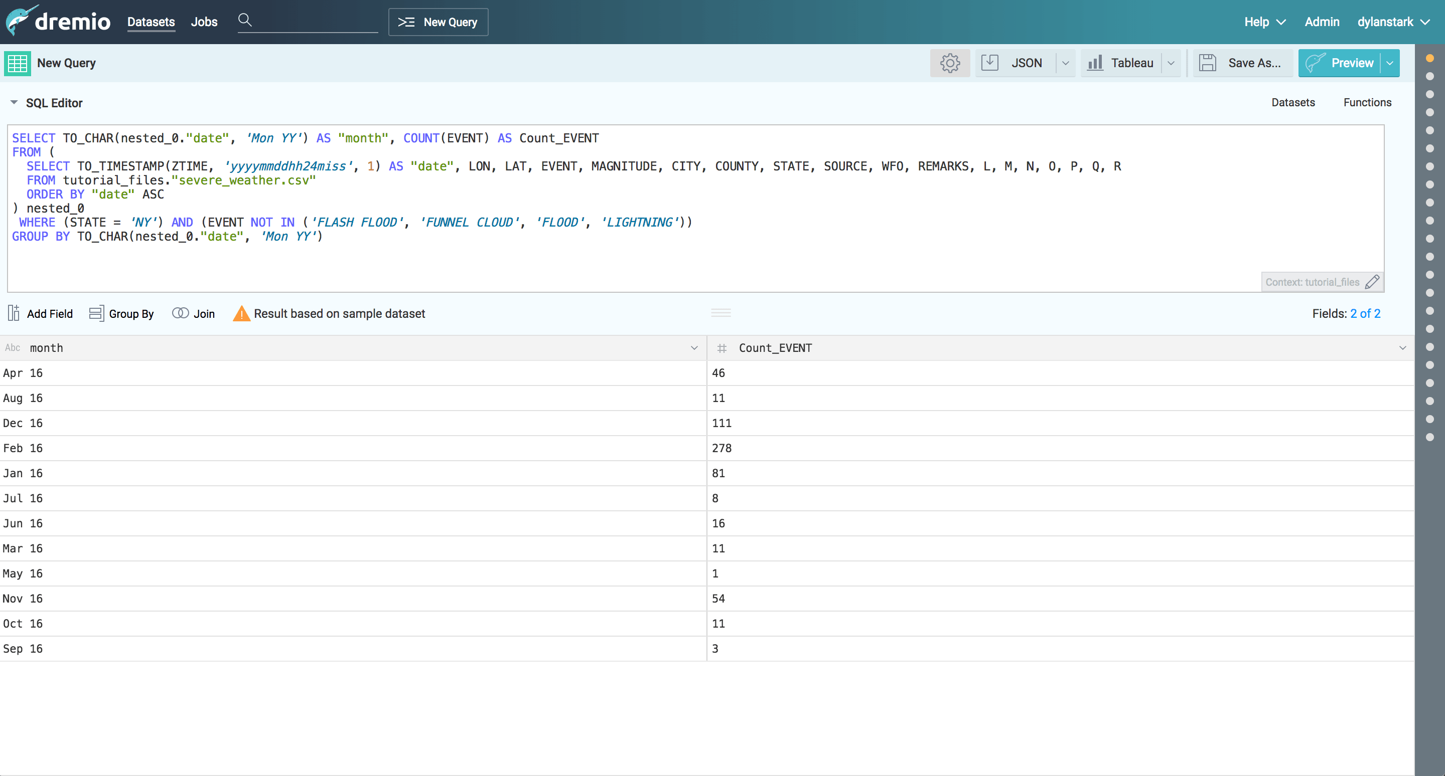 Dremio and D3 tutorial - filtered data