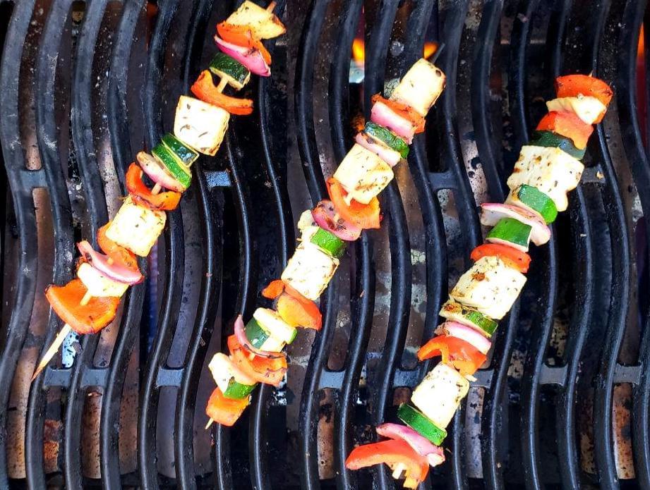 Three Mediterranean skewers on the BBQ grill