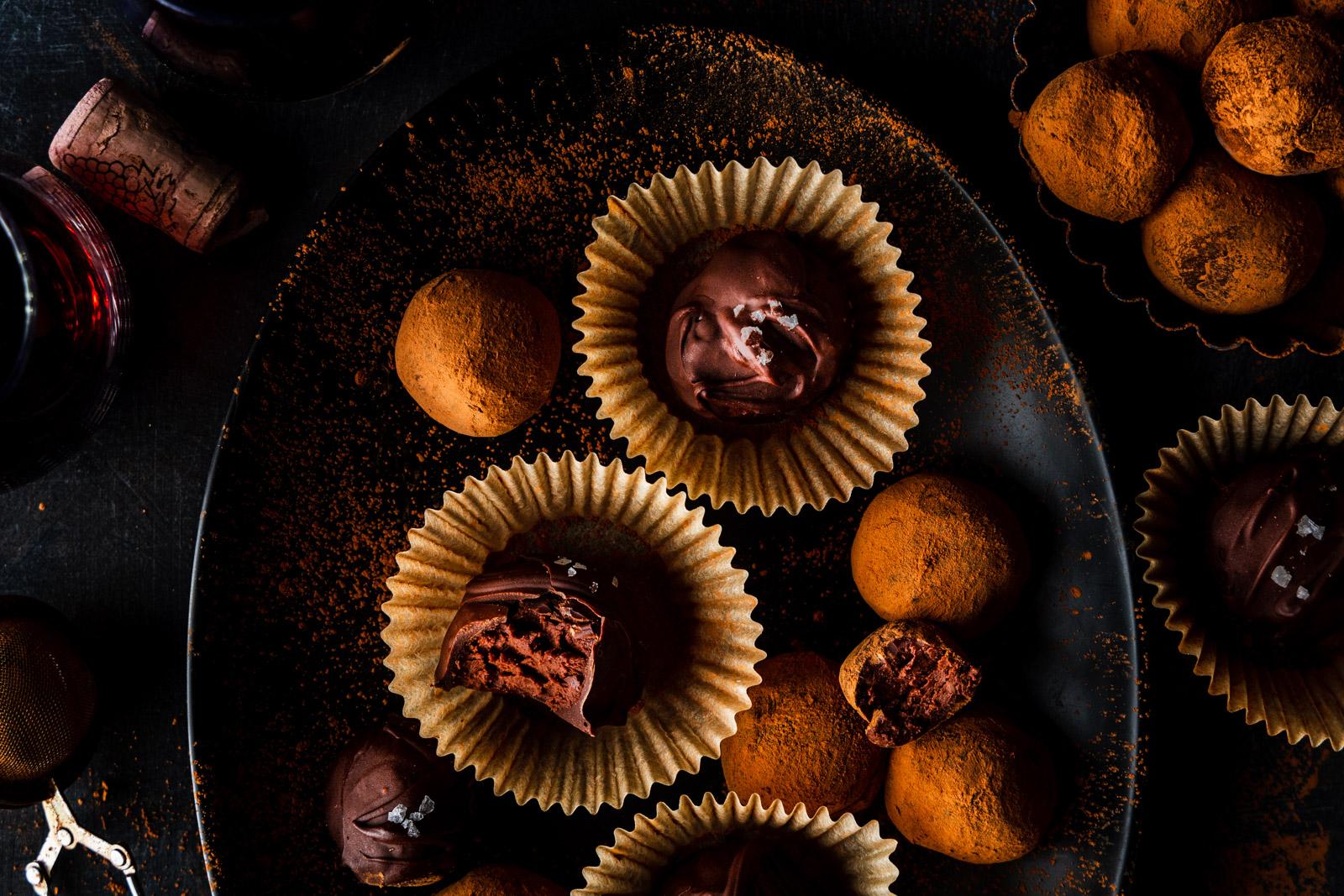 Dark Chocolate Wine Truffles