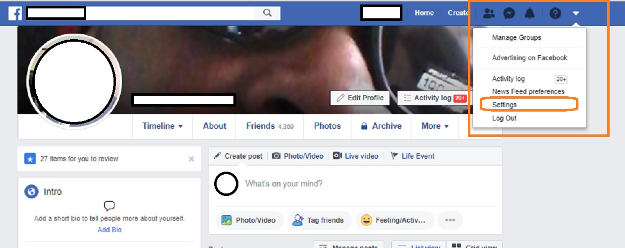 "Delete your Facebook account step #1: Navigate to ""Settings""."
