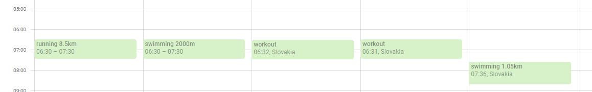 Training calendar in Google Calendar