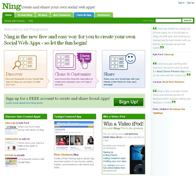 The new Ning homepage