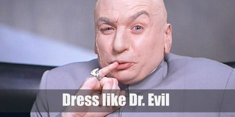 Dr. Evil wears a gray long-sleeved shirt with a matching pair of pants, a ring on his pinky finger, and pair of white formal shoes.
