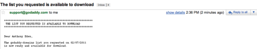 GoDaddy Export Lists Step 4
