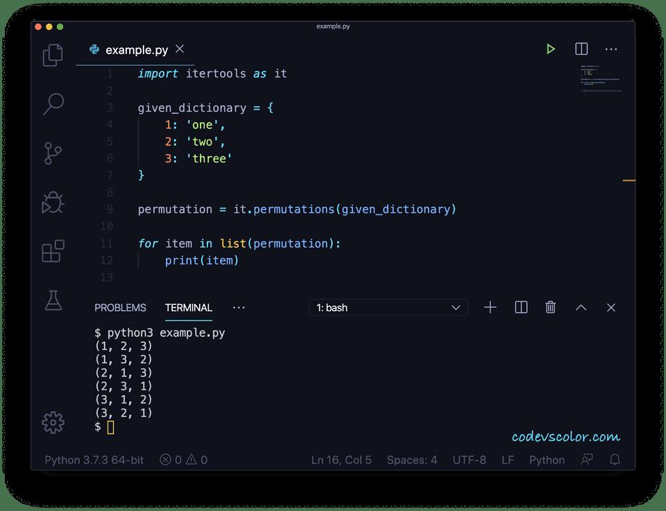 Python permutation dictionary