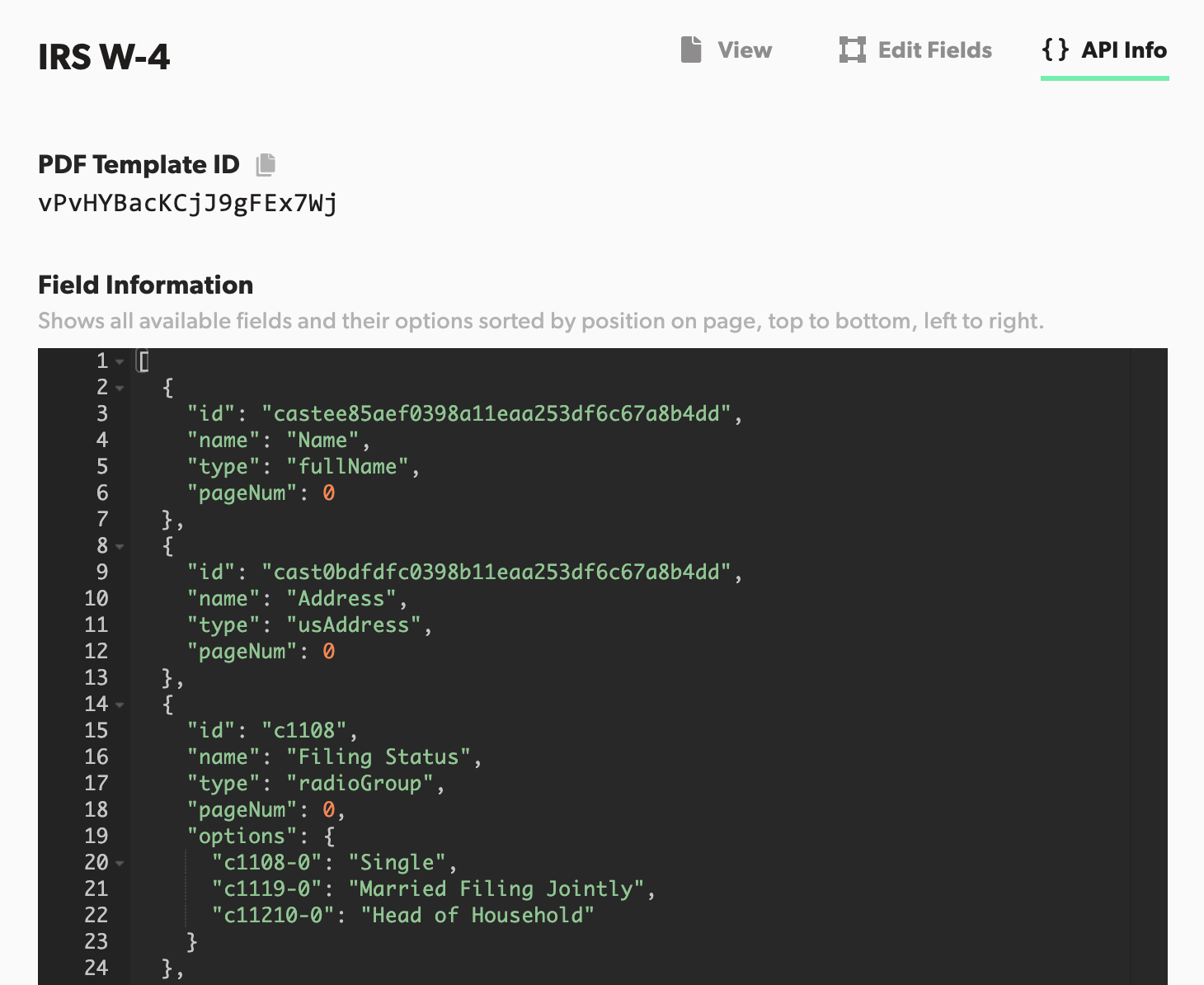 Field type information on API info tab