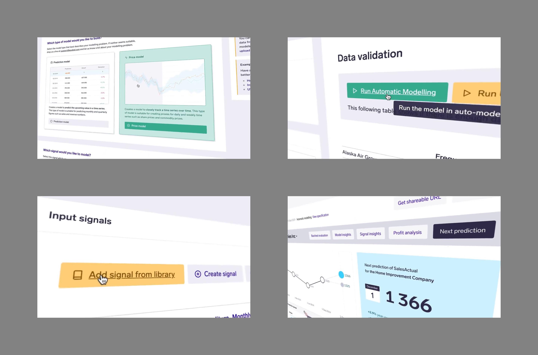 Collage of details from the desktop app model builder