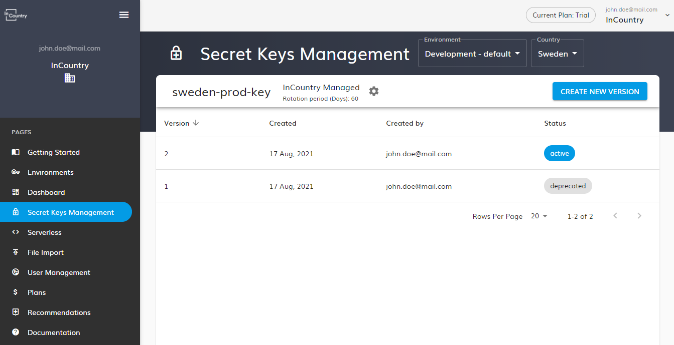 list of secret keys and versions