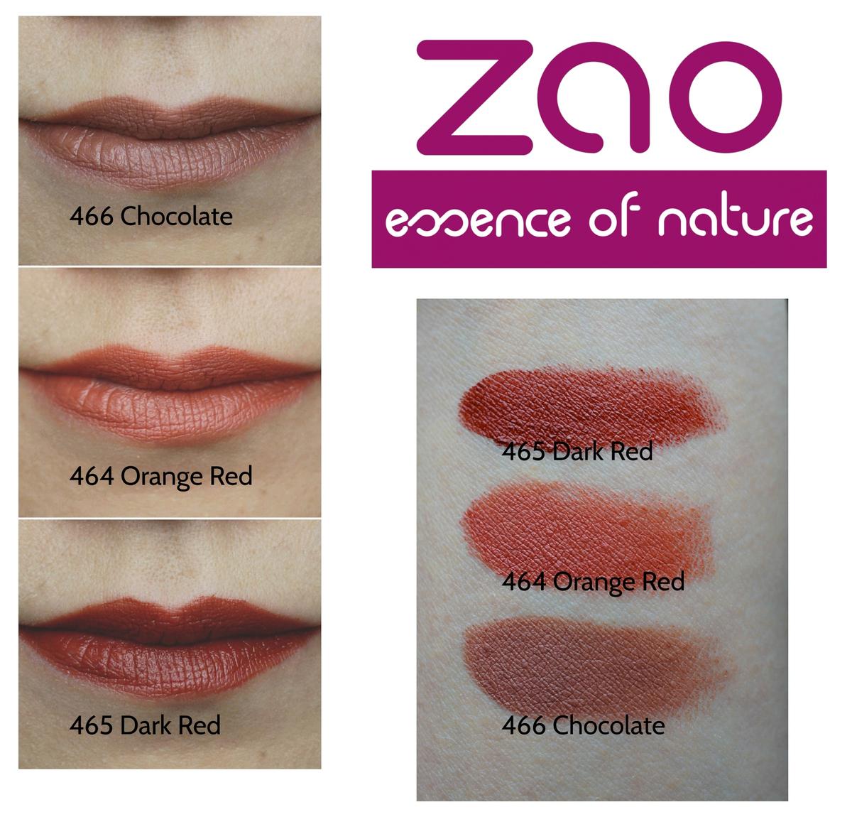 Zao Lipstick Chocolate, Dark Red, Orange Red Swatches