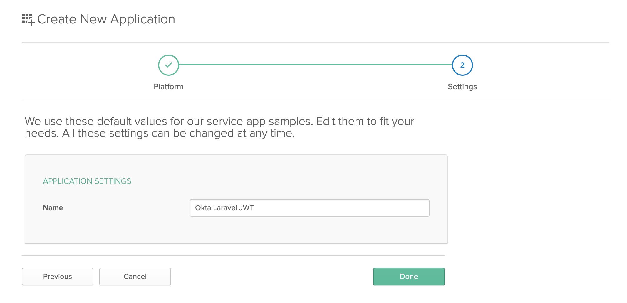 Entering a name for your application in Okta