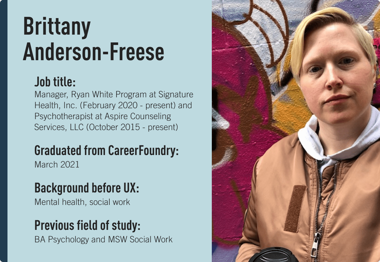 Brittany Anderson-Freese, Edie Windsor Coding Scholarship recipient and CareerFoundry graduate