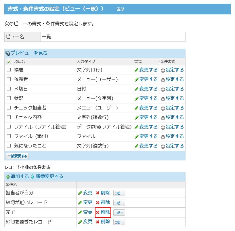 削除の操作リンクが赤枠で囲まれた画像