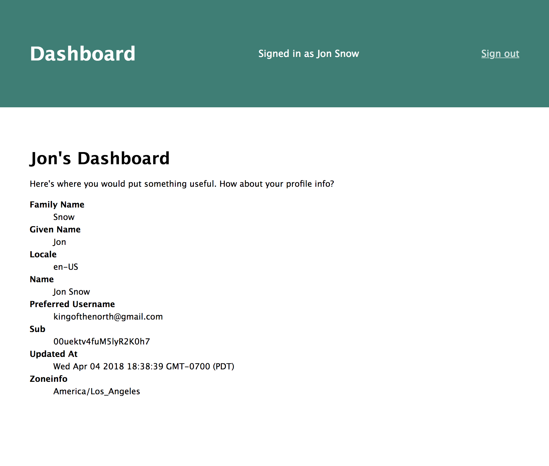 Simple Node Auth Dashboard