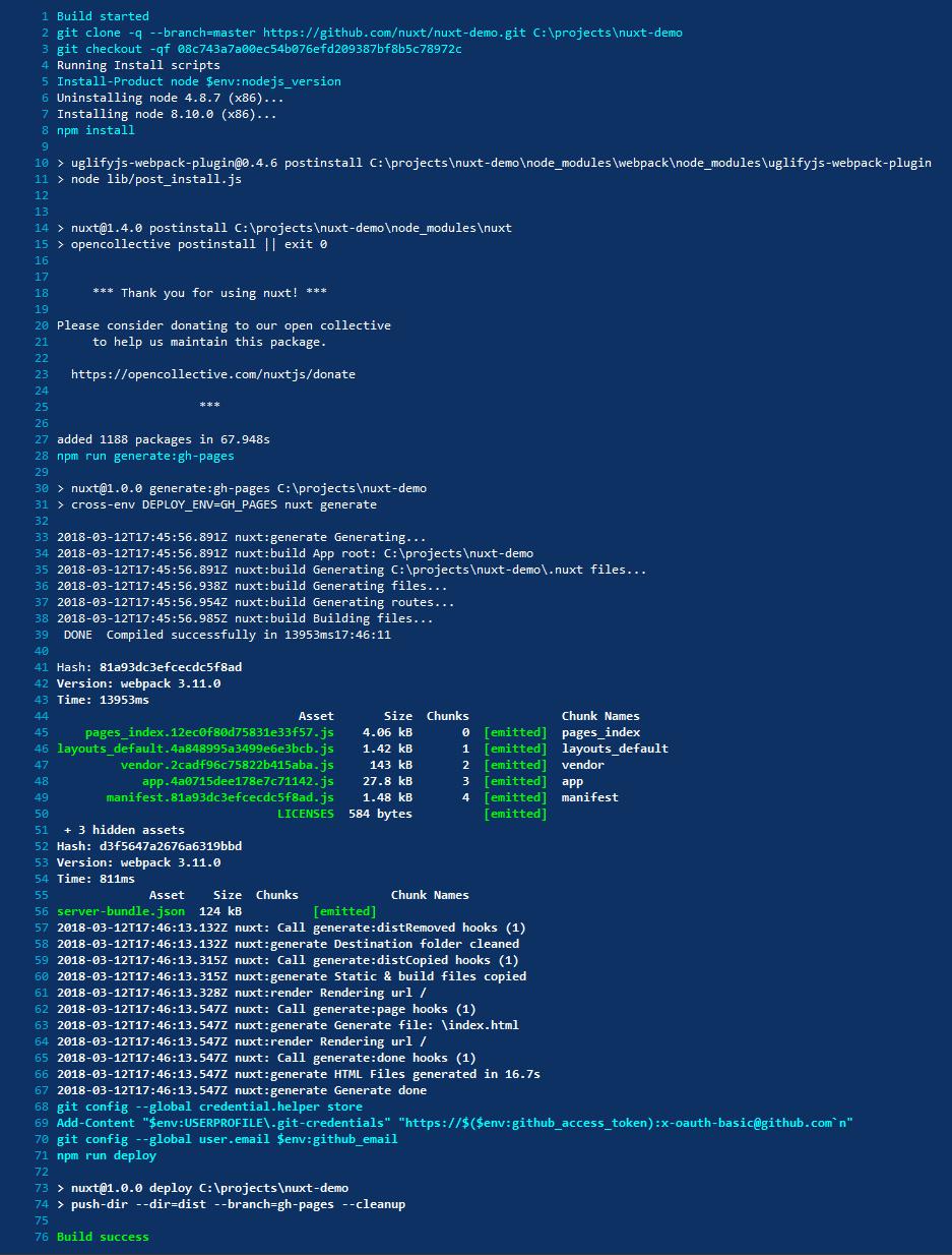 Appveyor Builder Server Output