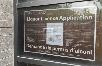 Liquor license placard