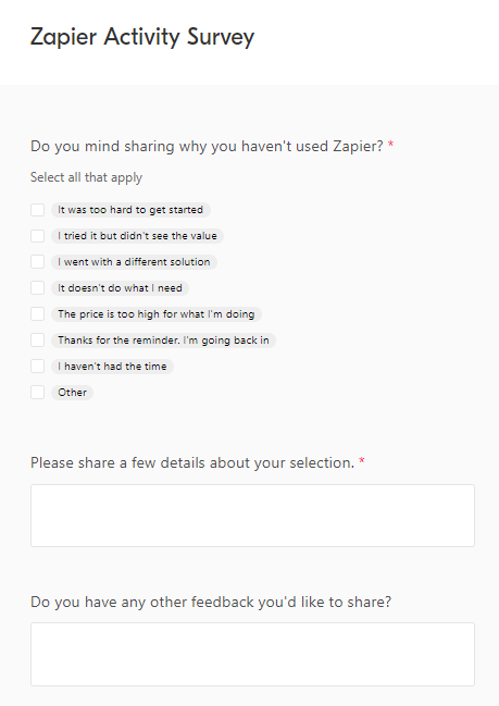 Example of a customer feedback survey sent by Zapier