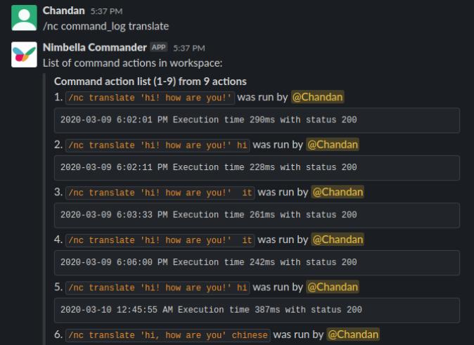translate slack commander command log