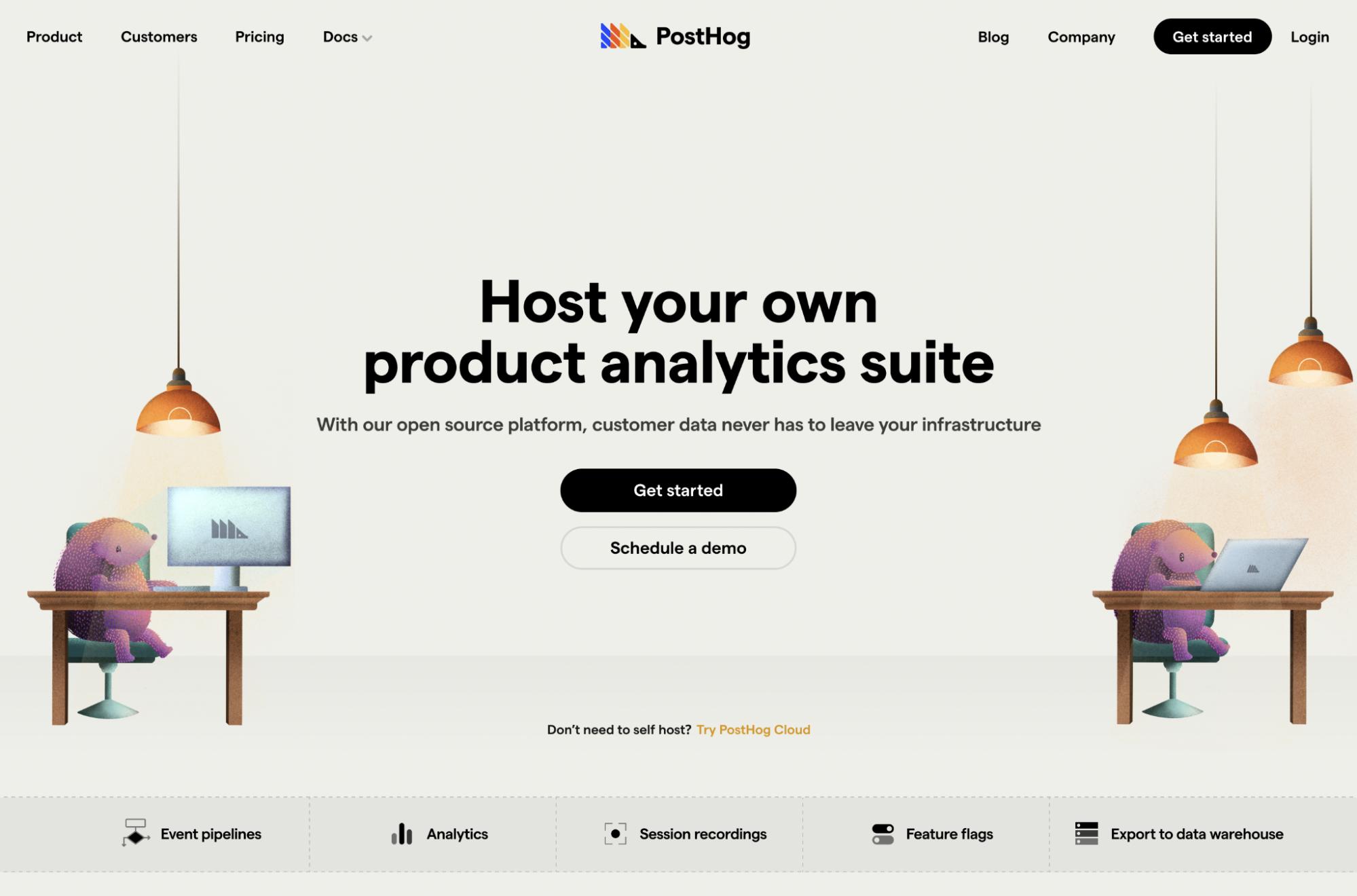 PostHog rebrand - Homepage