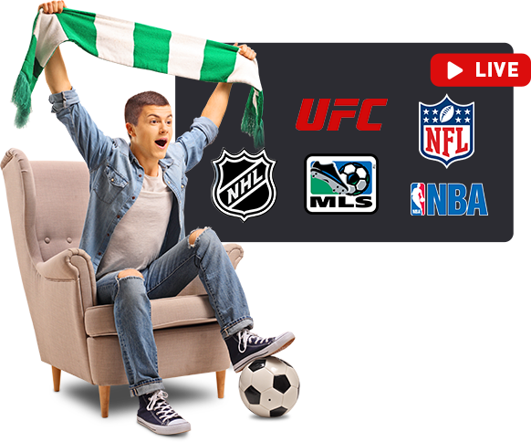 Young man with football watching sports