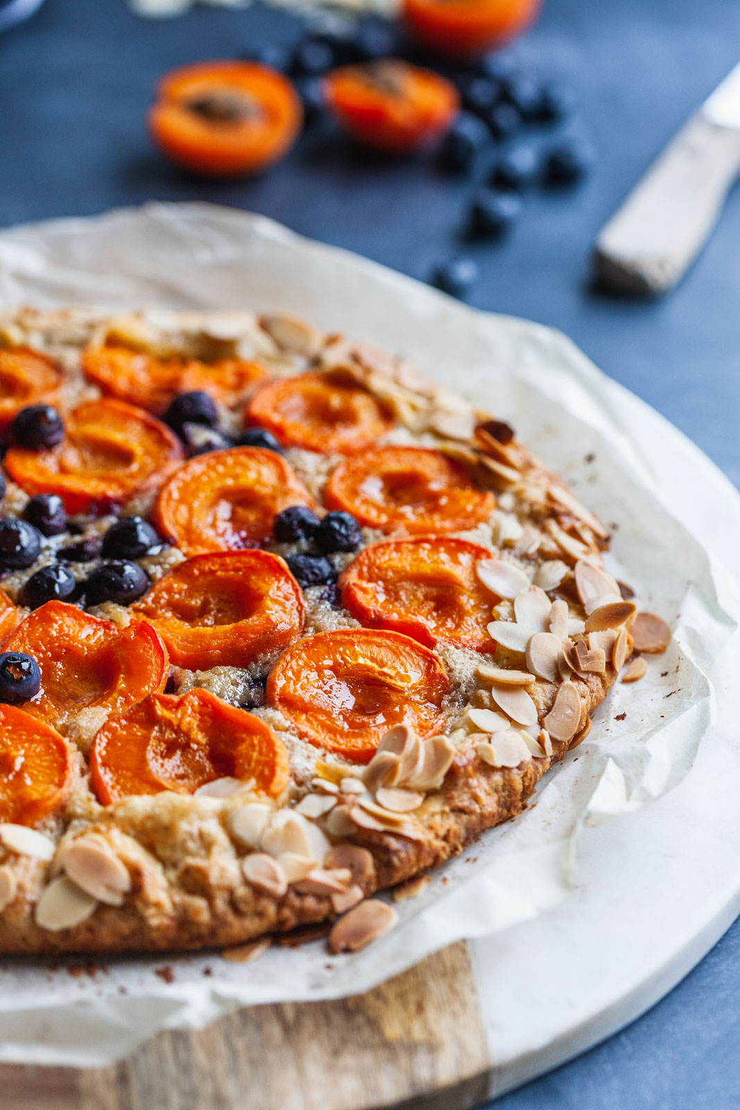 Apricot Blueberry and Almond Cream Crostata