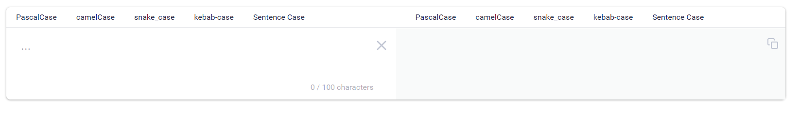 picture of the case converter react ui component, looks similar to google translate