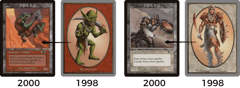 MTG Player Reward Frame compared to Unglued full art tokens