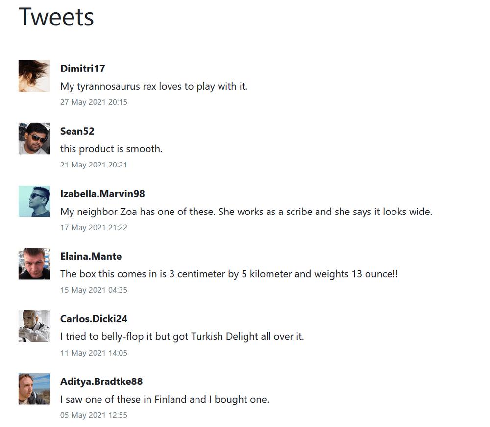 List of tweets