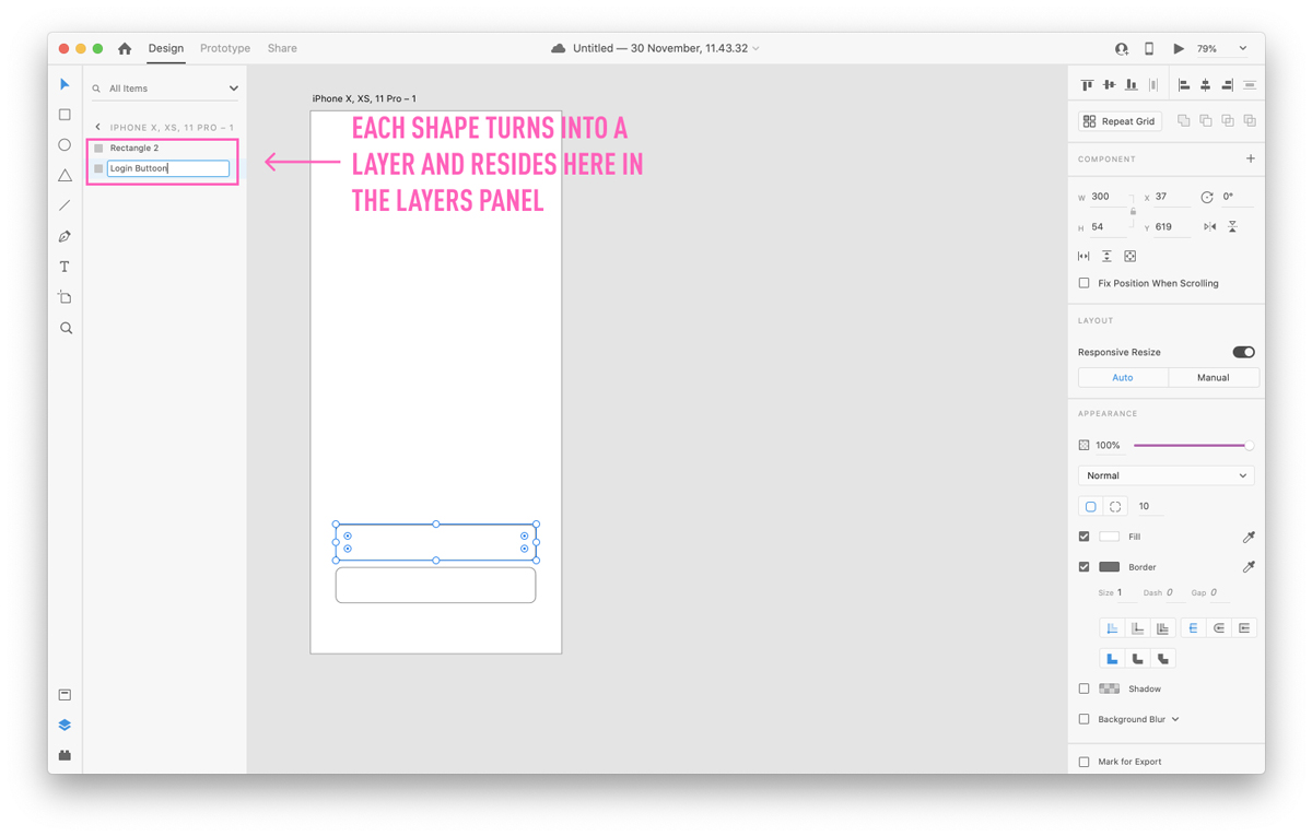 Creating a layer in Adobe XD