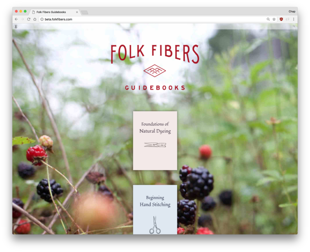 Folk Fibers landing page listing guidebooks