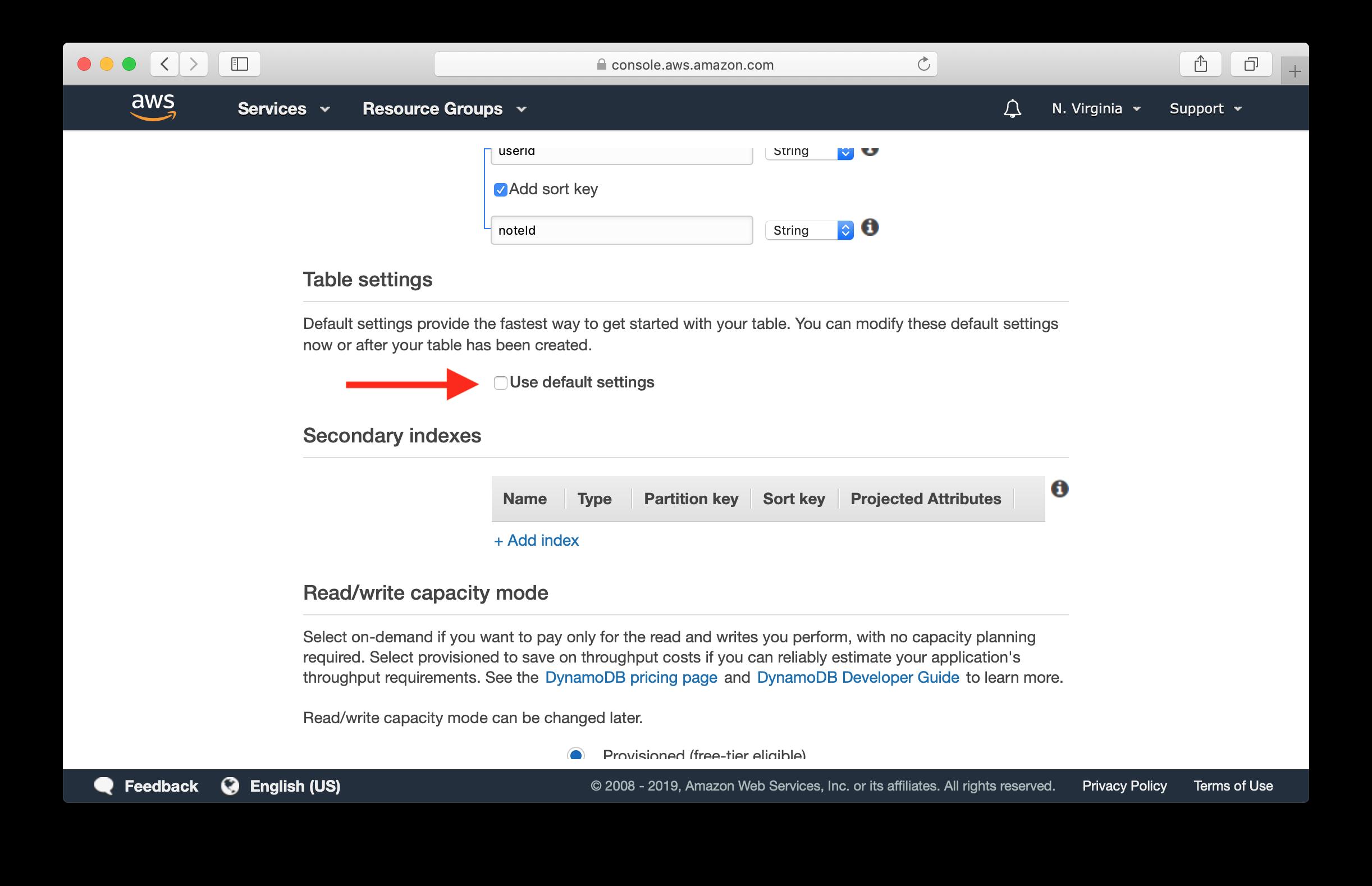 Deselect Use default settings screenshot