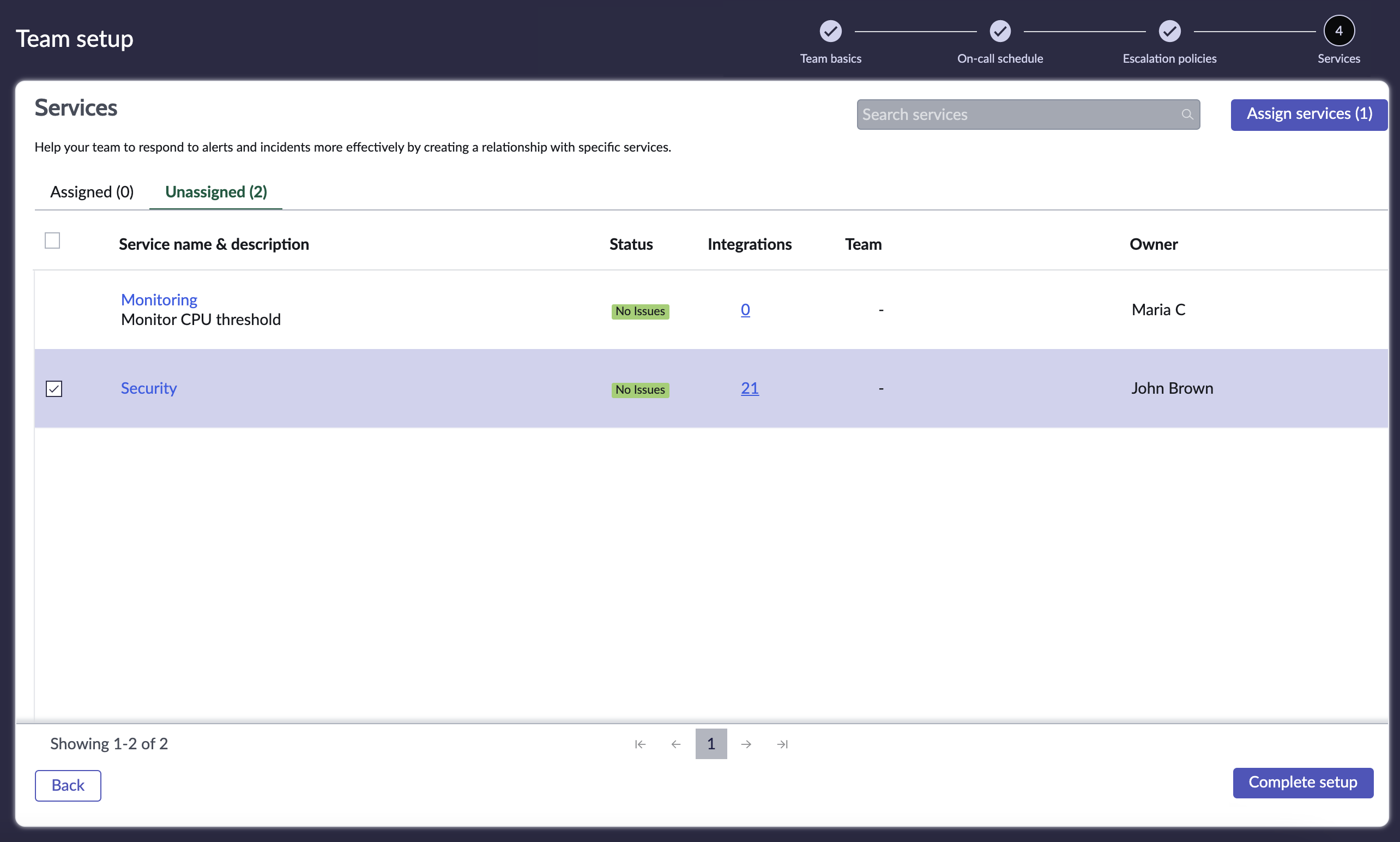 Select the services that you want to assign to your team.