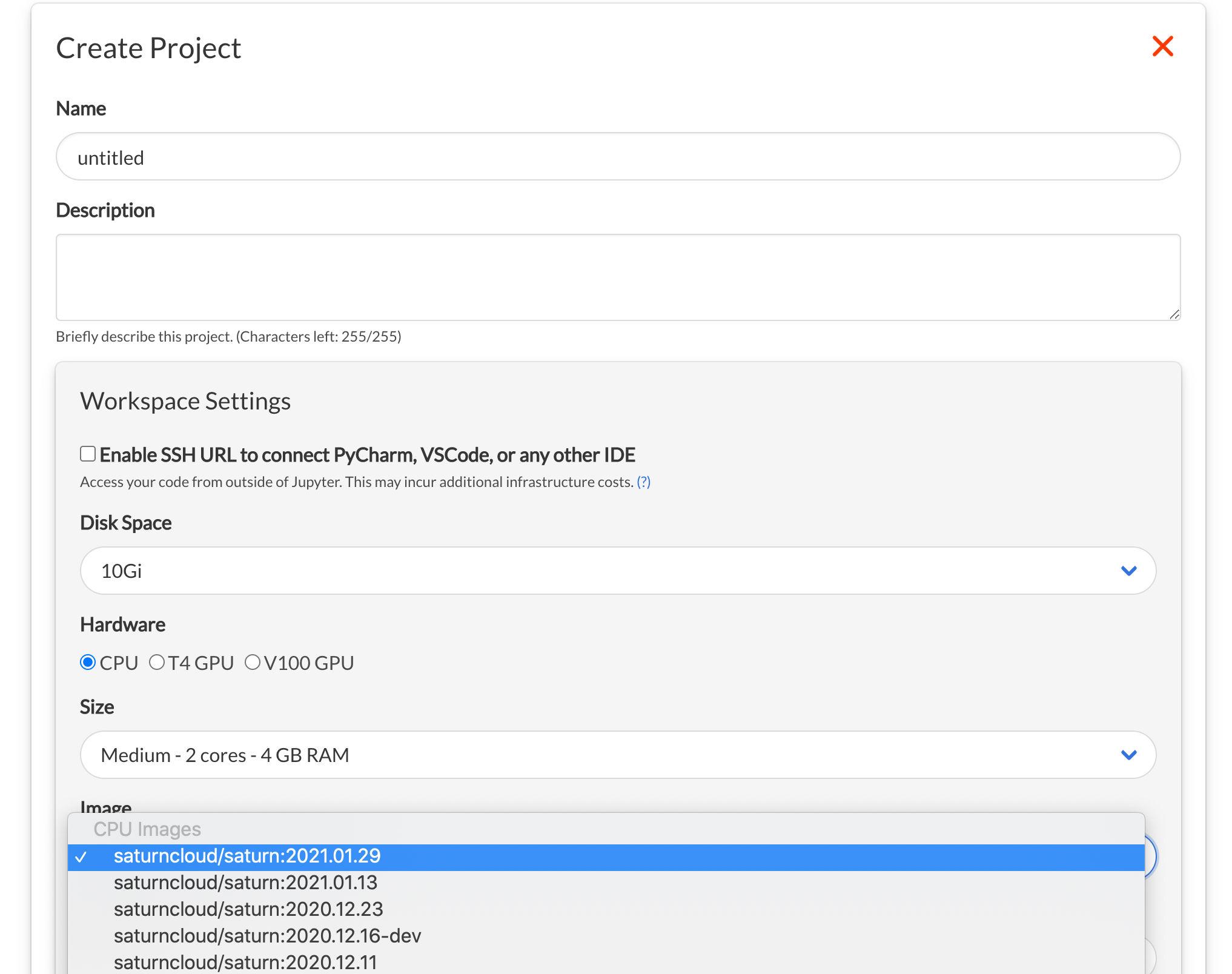 Screenshot of Saturn Cloud Create Project form