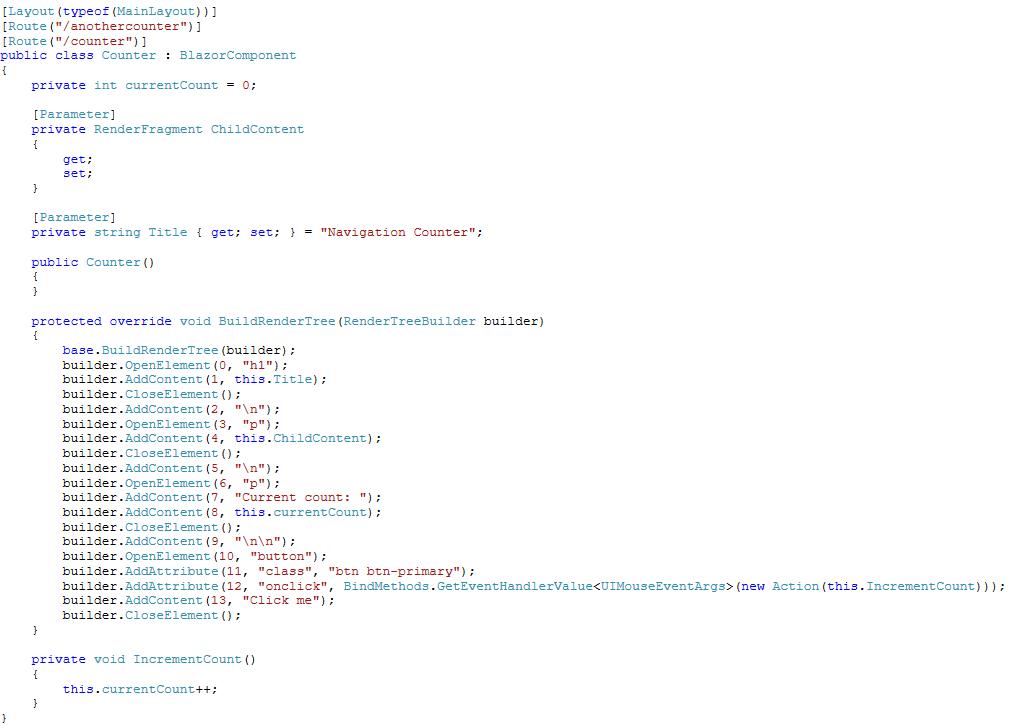 Screenshot of Counter class decompiled